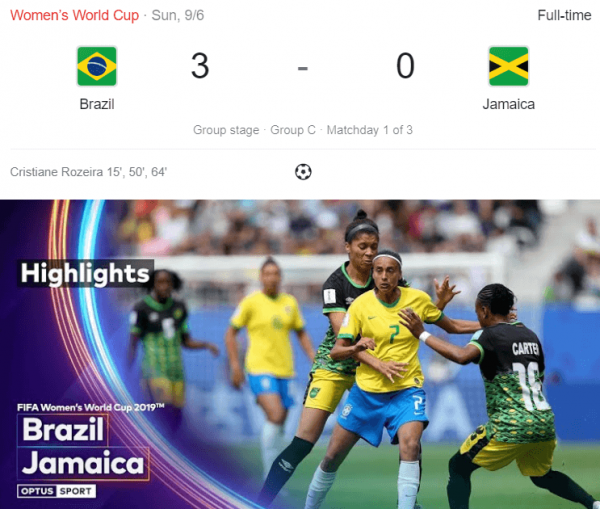 Brazil Vs Jamaica