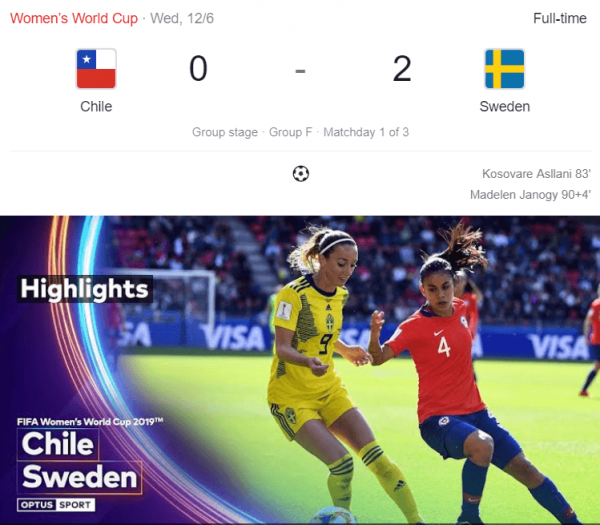 Chile Vs Sweden