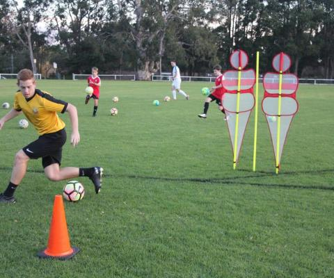 Football Skill Development Step over 6