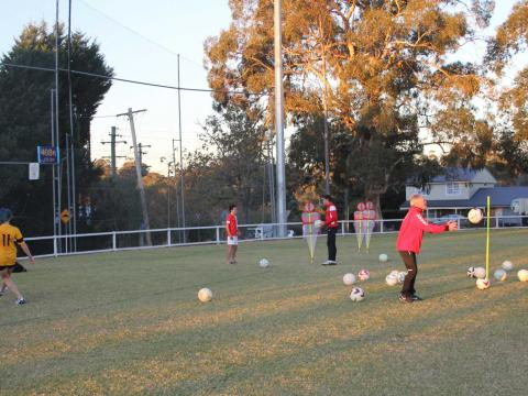 Soccer training session